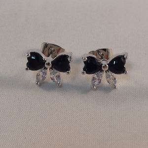 18K W Gold Black Onyx Topaz Zircon Bow Earrings GF